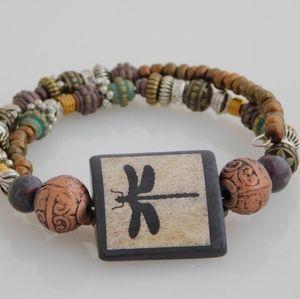 Jewelry - Majestic Dragonfly Memory Wire Bracelet